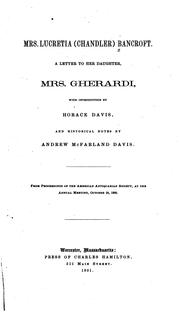 Cover of: Mrs. Lucretia (Chandler) Bancroft | Lucretia (Chandler) Mrs Bancroft