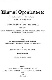 Cover of: Alumni oxonienses by Joseph Foster