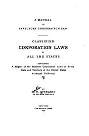 Cover of: A manual of statutory corporation law | Martha Uboe Overland
