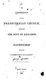 Cover of: An address to the Presbyterian church | [Bourne, George]