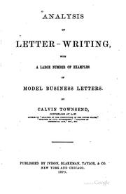 Cover of: Analysis of letter writing | Calvin Townsend