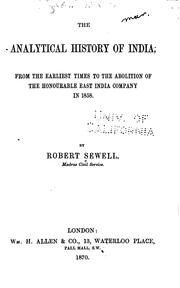 Cover of: The analytical history of India | Robert Sewell