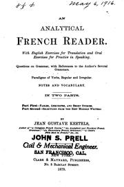 Cover of: An analytical French reader | Jean Gustave Keetels