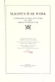 Cover of: Macon's war work | George McIntosh Sparks