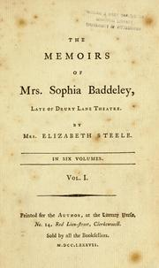 Cover of: The memoirs of Mrs. Sophia Baddeley | Steele, Elizabeth pseud.?