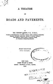 Cover of: A treatise on roads and pavements | Ira Osborn Baker