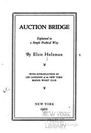 Cover of: Auction bridge | Elsie Holzman