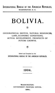 Cover of: Bolivia | International bureau of the American republic, Washington, D. C