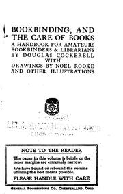 Cover of: Bookbinding, and the care of books | Douglas Cockerell