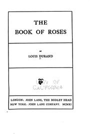 Cover of: The book or roses | Louis Durand