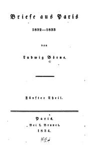 Cover of: Briefe aus Paris | Ludwig Börne