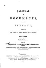 Cover of: Calendar of documents, relating to Ireland | Great Britain. Public Record Office