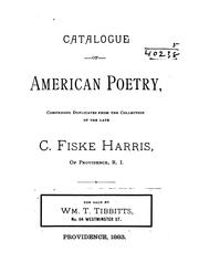 Cover of: Catalogue of American poetry | C[aleb] Fiske Harris