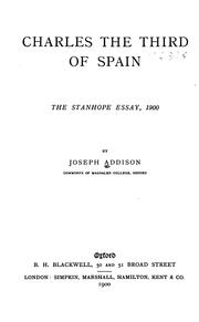 Cover of: Charles the Third of Spain | Joseph Addison