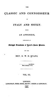 Cover of: The classic and connoisseur in Italy and Sicily | Evans, George William David Rev.