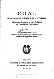 Cover of: Coal, government ownership or control | Dunlap Jamison McAdam