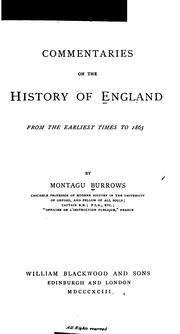 Cover of: Commentaries on the history of England | Montagu Burrows