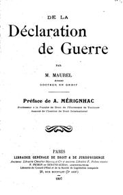 Cover of: De la déclaration de guerre | Marius Maurel