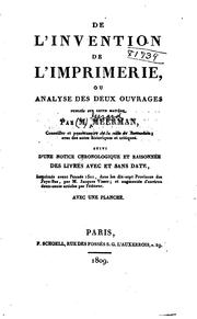 Cover of: De l'invention de l'imprimerie | Gerard Meerman