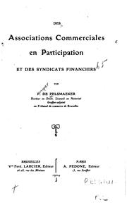 Cover of: Des associations commerciales en participation et des syndicats financiers | Prosper de Pelsmaeker