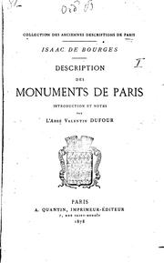 Cover of: Description des monuments de Paris | Isaac de Bourges