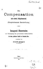 Cover of: Die compensation nach schjweiz. obligationenrecht | Arnold Janggen