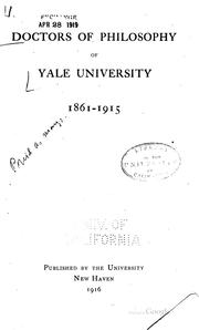 Cover of: Doctors of philosophy of Yale university | Yale university. Graduate school.