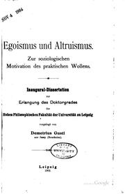 Cover of: Egoismus und altruismus by Gusti, Dimitrie