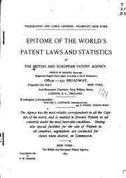 Cover of: Epitome of the world's patent laws and statistics | British and European patent agency, New York