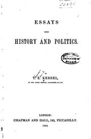 Cover of: Essays upon history and politics | Thomas Edward Kebbel