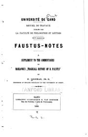 Cover of: Faustus notes | Henri Logeman