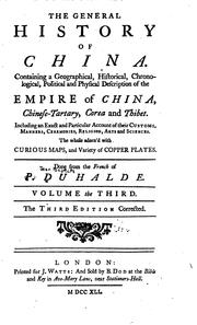 Cover of: The general history of China | Jean Baptiste DuHalde
