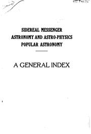 Cover of: General index to Sidereal messenger | William Wallace Payne
