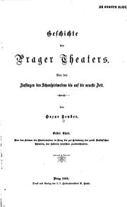 Cover of: Geschichte des Prager theaters | Oscar Teuber