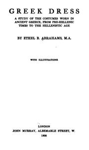 Cover of: Greek dress | Ethel Beatrice Abrahams