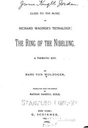 Cover of: Guide to the music of Richard Wagner's tetralogy | Hans von Wolzogen