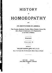 Cover of: History of homoeopathy and its institutions in America | King, William Harvey