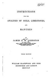 Cover of: Instruction for the analysis of soils | James Finley Weir Johnston