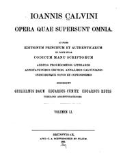 Cover of: Opera quae supersunt omnia by Jean Calvin