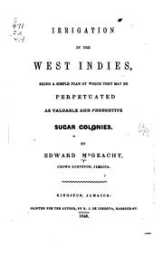 Cover of: Irrigation in the West Indies | Edward McGeachy