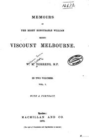 Cover of: Memoirs of the Right Honourable William | William Torrens McCullagh Torrens