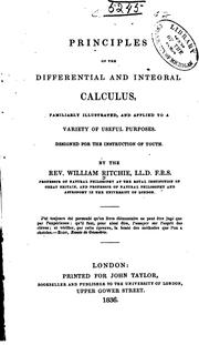 Cover of: Principles of the differential and integral calculus | William Ritchie