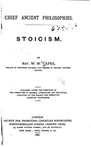 Cover of: Stoicism | William Wolfe Capes