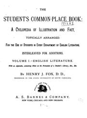Cover of: The student's common-place book | Henry J. Fox