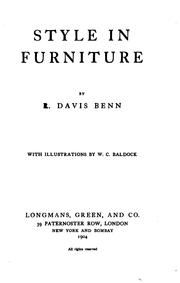 Cover of: Style in furniture | R. Davis Benn