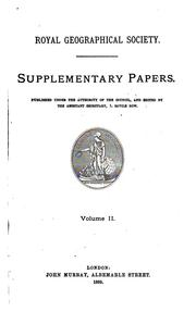 Cover of: Supplementary papers | Royal geographical society, London