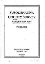 Cover of: Susquehanna County survey by the Interchurch world movement of North America | Interchurch World Movement of North America.