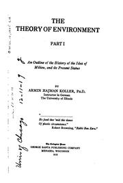Cover of: The theory of environment | Armin Hajman Koller
