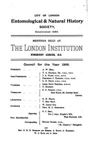 Cover of: Transactions of the City of London entomological and natural history society | City of London entomological and natural history society