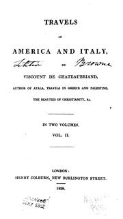 Cover of: Travels in America and Italy | François-René de Chateaubriand